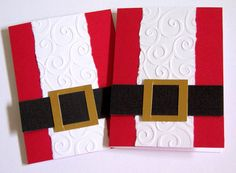 This listing is for four handmade Santa gift card holders with handstamped red sentiment on the inside that says,wishing you a merry christmas.  Card front is made of embossed white textured cardstock on red panel with a strip of black and foil papers as the belt. The card set comes with matching white envelopes.  Custom order is available for other quantity, message me in convo/conversations.