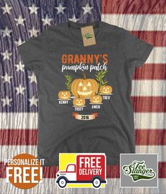 grammys pumpkin patch personalized t-shirt customized halloween shirts for grandma trick or treat grandkids tshirt large medium spooky tees Halloween Vinyl, Halloween Shirt, Halloween Gifts, Halloween Pumpkins, Personalized T Shirts, Best Gifts, Patches, Party Ideas, Gift Ideas