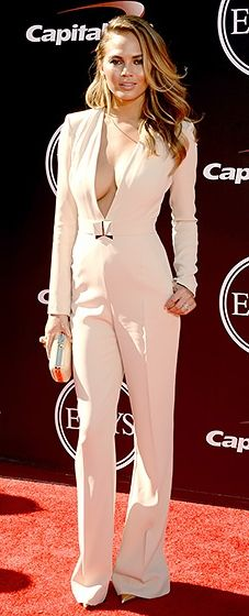 Chrissy Teigen looks sexy and chic in an ecru Elisabetta Franchetti jumpsuit at the 2014 ESPYS