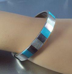 Vintage Sterling Turquoise Bangle Bracelet by LynnHislopJewels
