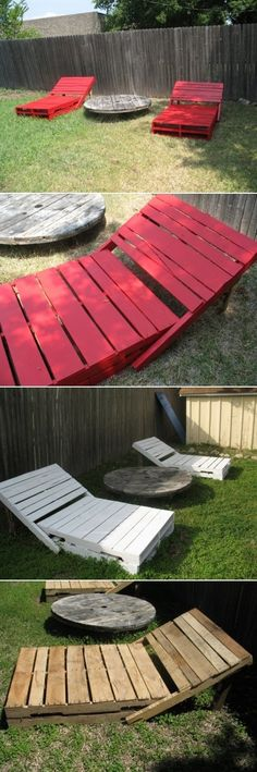 Outdoor Furniture Pallet DIY Outdoor Loungers Of Pallets Outdoor Projects, Wood Projects, Pallet Crafts, Diy Crafts, Pallet Lounger, Outdoor Loungers, Outdoor Cushions, Pallet Creations, Diy Décoration