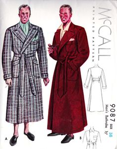Men's Bathrobe Vintage Sewing Pattern: Might seem strange, but since I'll be making a couple of bathrobes for guests to borrow, might as well put the pin here. Vintage Outfits, Vintage Fashion, Vintage Sewing Patterns, Clothing Patterns, Pattern Sewing, 1930s Costumes, Smoking Jacket, Wool Suit, Love Sewing