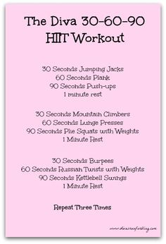 **chelle's 2 cents: i might do this one Benefits of HIIT & the Diva HITT Workout Hitt Workout, Tabata Workouts, At Home Workouts, Hiit Workouts Fat Burning, 30 Min Hiit Workout, Group Workouts, Hiit Workouts With Weights, Circuit Training Workouts, Hiit Workouts For Beginners