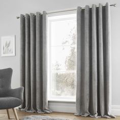 Catherine Lansfield Sherpa Fleece Lined Eyelet Curtains, Grey, 90 x 90 Inch