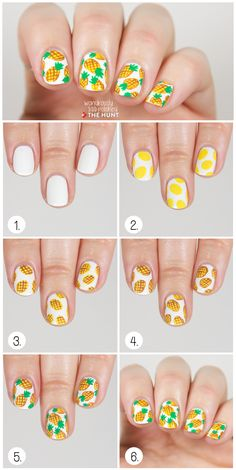 Pineapple print nail tutorial