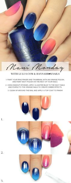Pink & Blue Ombre Nail tutorial #nailart #lulus