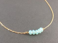 Pacific Opal crystal 14K Gold filled Necklace - minimal simple everyday jewelry on Etsy, $24.00