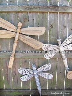 Dragonfly made from ceiling fan blades and an old table leg - Lovin' this repurposing upcycle craft!