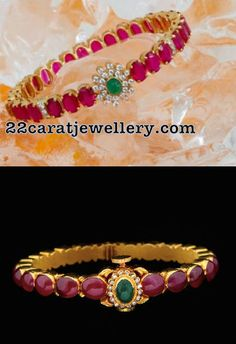 Gemstone Bangles Avaialble in Silver - Jewellery Designs Ruby Jewelry, India Jewelry, Beaded Jewelry, Silver Jewelry, Diamond Jewellery, Ruby Bangles, Silver Bangles, Silver Ring, 925 Silver