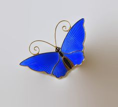 Attention, Norway sterling aficionados! Fine, highly collectible vintage David-Andersen basse-taille blue enamel butterfly brooch pin; such a pretty,