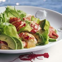 Indulge with Lobster and Butter Lettuce Salad with Avocado and Olive oil. #50ShadesOfGreen