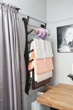 Shoe rack for packaging items - excellent space saver! We already have something like this in the closet in our home office that we use, so it will be a great addition to the studio!