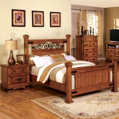 A Charming Bedroom Set, This Country Style Platform Bed And Nightstand Have  A Quaint
