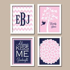 Navy Blue Pink Nursery Tree Name Baby Girl Nursery Wall Art Girl Bedroom Wall Art CANVAS or Prints Girl Nursery Girl Wall Art Set of 4 by TRMdesign on Etsy https://www.etsy.com/listing/166162880/navy-blue-pink-nursery-tree-name-baby
