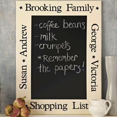 personalised classic board just right for the kitchen shopping list.