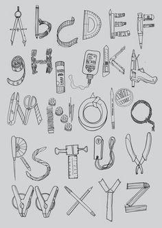 Art Bin Alphabet (poster) by Dewi Prihatina, 2011 Alphabet Drawing, Alphabet Art, Letter Art, Doodle Lettering, Lettering Design, Name Drawings, Art Bin, Kids Canvas Art, Fall Art Projects