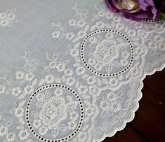 both sided wide embroidered cotton lace by the yard by cottonholic