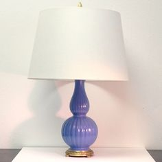 vintage periwinkle porcelain and brass table lamp
