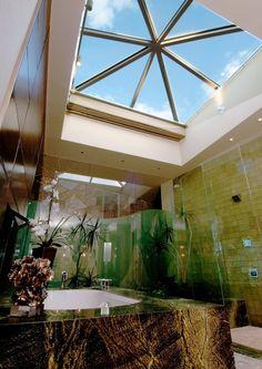 Beautiful skylight. #bathroom #mansion #skylights