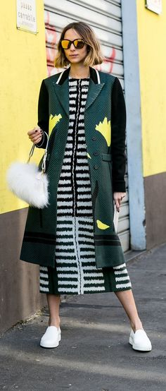 Milan Fashion Week street style: Striped dress and furry bag