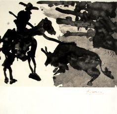 "Pablo Picasso, signed Lithograph ""Toros Y Toreros"", 1961 Pablo Picasso, Toro Picasso, Picasso Drawing, Picasso Paintings, Bombing Of Guernica, Synthetic Cubism, Cubist Movement, Spanish Painters, Henri Matisse"