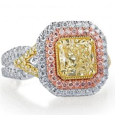 Handcrafted in multi tone gold. Radiant Cut Engagement Rings, Yellow Diamond Engagement Ring, Engagement Ring Cuts, Radiant Cut Diamond, Diamond Cuts, Pink Diamond Necklaces, Diamond Jewelry, Gold Jewelry, Deco Design