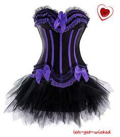 Moulin Rouge Burlesque Corset Basque & Tu Tu Fancy Dress Costume Hen Night Party | eBay
