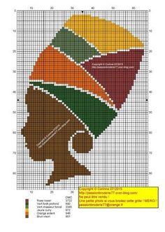 0 point de croix femme africaine et turban - cross stitch african woman and turban Cross Stitching, Cross Stitch Embroidery, Embroidery Patterns, Hand Embroidery, Cross Stitch Charts, Cross Stitch Designs, Cross Stitch Patterns, Cross Stitch Silhouette, Tapestry Crochet