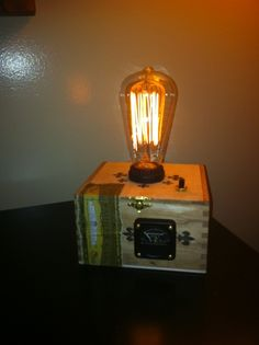 Cigar Box Steam Punk Lamp Crown Vintage