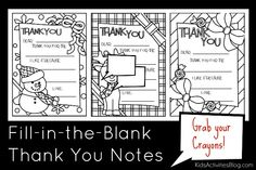 These super cute printable fill-in-the-blank thank you notes make writing for kids EASY!