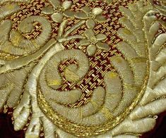 Goldwork embroidery (sample). (from Beginner's guide to goldwork.)
