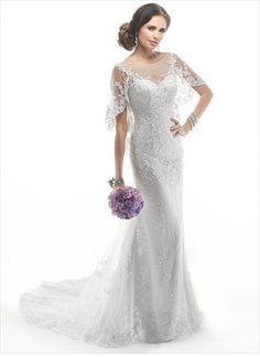 Sheath/Column Scoop Neck Chapel Train Tulle Lace Wedding Dress With Appliques Lace