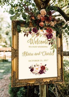 Welcome Wedding Sign Template / Editable Three Sizes 16x20, 18x24, 24x36 - Fall Floral - Gold / Cream / Burgundy / Marsala / Wine Rusti