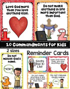 Teach your little ones the 10 commandments with this cute Poster set. This resource would be great for Christian schools, homeschooling families, Sunday Schools and more. Each poster comes with kid friendly language and you have 2 sizes to choose from. This set even includes reminder cards that you can cut, laminate and add a binder ring to keep on hand.
