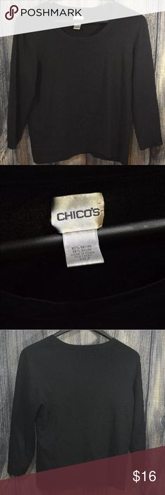 Chico's Size 3 3/4 Sleeve Black Scoop Neck Top Chico's Size 3 3/4 Sleeve Black Top Scoop Neck Cute office Career shirt work   Gently worn, please see photos for the exact item you will receive. Chico's Tops Tees - Long Sleeve