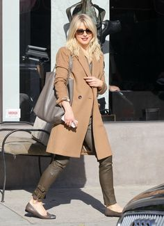 Julianne Hough wearing Julianne Hough For Sole Society Janae Cap Toe Flats in Pewter Cloud and Hermes Double Sens Shopping Tote Bag