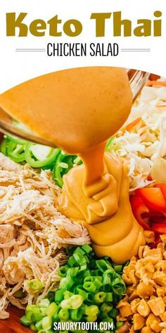 This chopped Thai Chicken Salad is a healthy and slightly spicy asian salad, tossed with peanut dressing made with sesame oil. Easy to make, with low carb ingredients like shredded cabbage, carrots, chicken (can be subbed with another protein), crunchy peanuts, and green onions. Great for keto and gluten free lunches