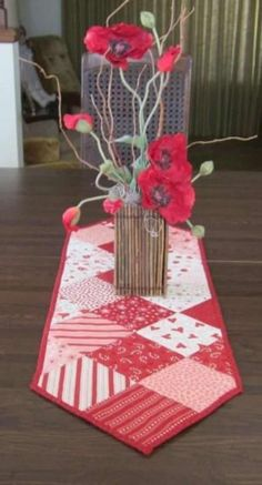 Valentine Kisses Table Runner by QuiltingGranny on Etsy by DeeDeeBean Table Runner And Placemats, Crochet Table Runner, Table Runner Pattern, Quilted Table Runners, Valentines Day Decorations, Valentine Day Crafts, Halloween Table Runners, Quilted Table Toppers, Sewing Table