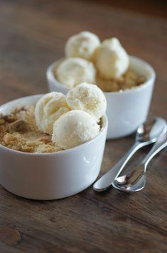 Poires au Chocolat: Apricot and Pistachio Crumbles with Vanilla Ice Cream
