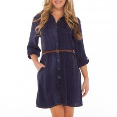 Long Sleeve Belted Shirt Dress with Pockets