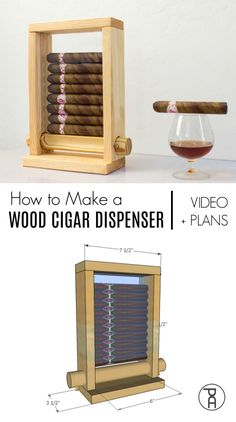 How to make a simple wood Cigar Dispenser from off the shelf materials with free building plans and a video tutorial. A great Father's Day gift idea! Care Skin Condition and Treatment Oil Makeup Woodworking Patterns, Woodworking Projects Diy, Woodworking Jigs, Woodworking Furniture, Portable Band Saw, Diy Furniture Plans, Crate Furniture, Furniture Logo, Furniture Outlet