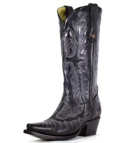 AwesomeNice Corral Women's Fancy Stitched Cowgirl Boots Snip Toe Black 9 M US