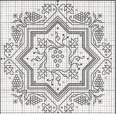 Blackwork cross stitch biscornu grapes by Barbara Nealon Catino Blackwork Cross Stitch, Biscornu Cross Stitch, Blackwork Embroidery, Cross Stitching, Cross Stitch Embroidery, Embroidery Patterns, Cross Stitch Designs, Cross Stitch Patterns, Blackwork Patterns