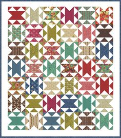 Chatterbox quilt pattern by Vanessa Goertzen of Lella Boutique. Can be made with 1 Moda Layer Cake or 1 Moda Jelly Roll + 1 FQ. Fabric is Flying Colors by Momo for Moda.