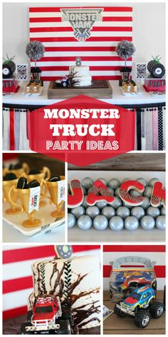 An awesome Monster Truck boy birthday party with a cool cake and decorations! See more party ideas at CatchMyParty.com!