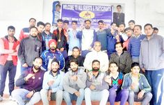 Medal winning wrestlers posing alongwith dignitaries and officials in Poonch.