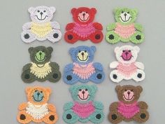9 Large Crochet Teddy Bear Appliques 9 Colors Quantity: 9 Color: 1 each of the 9 colors shown Great for sewing, craft, clothing, bag, Scrap. Crochet Teddy, Crochet Bear, Love Crochet, Crochet Animals, Crochet Dolls, Crochet Flowers, Crochet Horse, Appliques Au Crochet, Crochet Motif