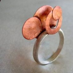 orbit copper and sterling silver ring by maroulina on Etsy