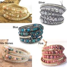 Shop for Handmade Gemstone Snake Cord Leather Wrap Bracelet (Thailand). Get free delivery On EVERYTHING* Overstock - Your Online Jewelry Destination! Bohemian Bracelets, Hippie Jewelry, Fashion Bracelets, Beaded Jewelry, Men's Jewelry, Custom Jewelry, Jewlery, Jewelry Accessories, Bracelet Crafts