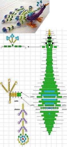 3D Beaded Peacock Pattern - Bing Beaded Dragonfly, Peacock Pattern, 3d, Patterns
